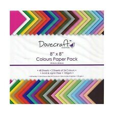 """8 x 8"""" DOVECRAFT SCRAPBOOKING CRAFT PAPER ASSORTED COLOURS DECORATION TRDCDP60"""