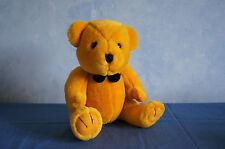 "Steven Smith gold golden teddy bear black bowtie 9"" plush stuffed animal VGUC"