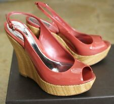 New GUCCI Patent Leather Platforms Wedges SHOES 40/10 Coral 258355 6411