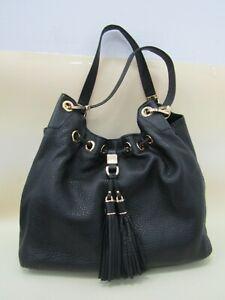 Michael Kors Camden Women's Black Leather Drawstring Tassel Tote Shoulder Bag