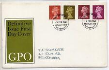 Gran Bretaña Monarquia Sobre primer día año 1968 (DN-240)