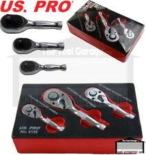 """US PRO Tools 3pc Stubby Socket Ratchet Set  1/4"""" 3/8"""" 1/2"""" Drive NEW 4129"""