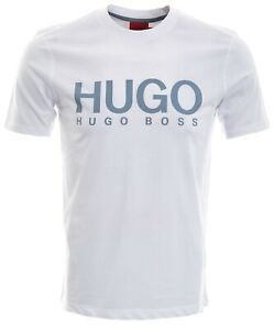 Mens HUGO BOSS White With Blue Logo T Shirt Size Medium BNWT  - Z05