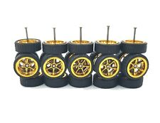 5 sets 6 Spoke 6SP Gold small size 10 long axle fit 1:64 hot wheels rubber tires