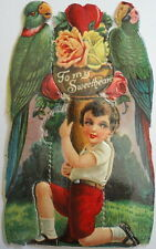 Two Parrots w/ Boy Red Shorts 1920's Valentine Boy Holding Flowers Standee