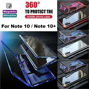 For Samsung Note 10 10+ 5G 360° Full Cover Magnetic Absorption Metal Case Cover
