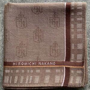 "JAPAN ART BROWN CHECKS STRIPED COTTON MEN'S POCKET SQUARE SCARF HANDKERCHIEF~18"""