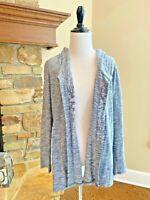J. Jill Pure Jill XS Cardigan Sweater Open Front Blue Hooded Cotton Long Sleeve