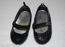 Toddler Girls Dress Shoes BLACK Mary Jane Flats GLITTER Elastic Strap 4