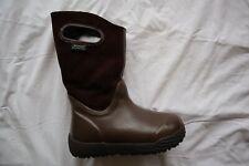 Dark Brown Suede & Rubber BOGS Waterproof Sheepskin Lined Tall Boots Youth 2