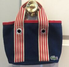 cf2a881bbce LACOSTE Navy Blue Canvas W/Red & Tan Striped Handles Small Handbag