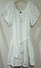BANANA REPUBLIC Women's Dress White Crochet Belted Size Large NWT $130 Retail