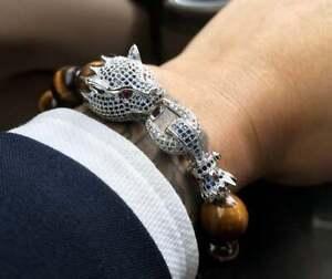 Luxury Man Bracelet Micro Zircon Dragon Connector Tiger Eye Beads Bracelet Mens