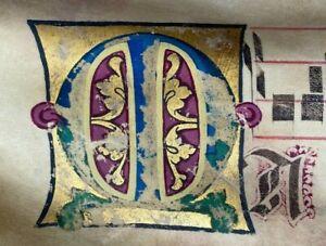 1350 HUGE ORIGINAL handwritten medieval VELLUM manuscript free EXPRESS w/wide