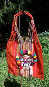 Halloween Dia De Los Muertos Mexican Hand Embroidered Tote Bag Rainbow E67 16x16