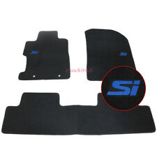 For 06-11 Honda Civic 2Dr 4Dr Floor Mats Carpet Front & Rear w/Blue Si Embrodery