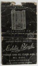 VINTAGE EDDIE BLACK RADIO SERVICE TORONTO MATCHBOOK COVER          (INV25556)