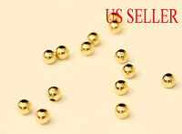 14k solid gold 2mm 3mm 4mm 5mm round polish beads  (price for 10 pieces )
