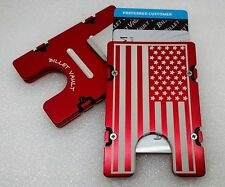 AMERICAN FLAG, Aluminum Wallet/Credit Card Holder RFID Protection, Red