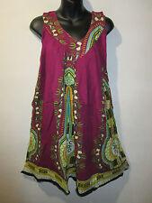 Dress Fits M L XL 1X Sundress Wine Dashiki African Mini Dress V Neck NWT 661