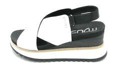 Mjus 912005 sandalo zeppa alta pelle bianco.nero cinturino strap