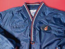 Vtg 90's Cleveland Indians Pro Player Pullover Jacket Men's XL Blue 1/2 Button