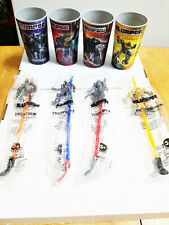 Transformers Slurpee 7 Eleven 4 Lenticular Morphing 3D Cups + 4 Straws Hasbro