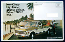 Prospekt brochure 1972 - 1973 Chevrolet Chevy Highlander Special Pickup  (USA)