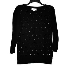 ELLE Embellished Pullover Sweater Knit Top Womens Size L Black White Pearls