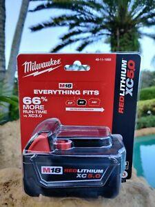 (1) GENUINE 18V Milwaukee 48-11-1850 5.0 AH Battery M18 18 Volt XC 5.0 Red NEW!