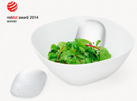 Universal Expert Porcelain Salad Bowl with Stainless Steel Serving Hands - New