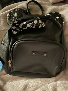 *NEW* Disney Minnie Mouse Mini Backpack Purse Bag Black Sequin Ears