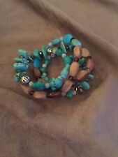 And Turquise Beads, Handmade Memory Wire Bracelet, Wooden