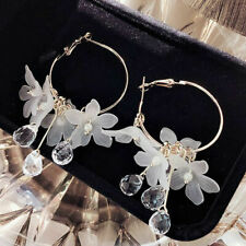 Drop Earrings Crystal Tassel Dangle Acrylic Flower Women Jewelry Accessories