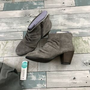 StitchFix Diba Gray Suede Ankle Boots Booties Size 8W Sandra Shirred Heel