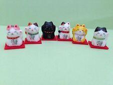 Maneki Neko kawaii Happy Lucky Cat 6 Cute Cats Set Mamefuku(Cute Fortune) Japan