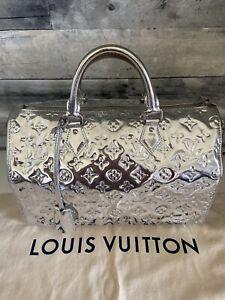 Rare! LOUIS VUITTON Monogram Miroir Speedy 35 Silver