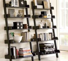 5 TIER LEANING LADDER WALL SHELF DISPLAY UNIT CD WINE FLOWER BOOK STAND MDF NEW@