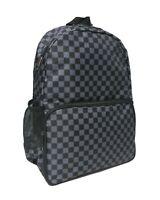 CHECKER BLACK GREY Backpack Rucksack School Skate Check EMO GOTH Laptop Bag
