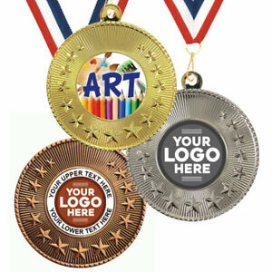 ART PAINTING SCHOOL METAL STAR MEDALS 50mm,PACK x10,RIBBONS,EMBLEM or YOUR LOGO