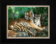 "Matted Sumatran Tiger & Cub Art Print ""Majestic Patience"" 8x10 Mat by Roby Baer"