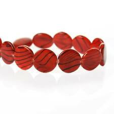 1 strand Red black stripe round shell beads size approx 10-11mm