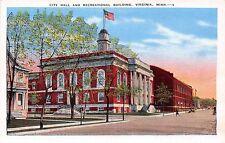 Minnesota postcard Virginia City Hall and Recreational Building street scene