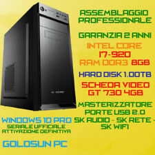 COMPUTER ASSEMBLATO PC FISSO INTEL Core i7-920 RAM 8GB HDD 1TB DVD-RW GT730-4GB