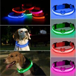 LED Dog Pet Collar Nylon Luminous Flashing Adjustable Night Safety Light Up Tag