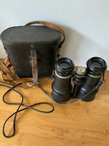 WW1 FRENCH 8 LENS BINOCULARS WITH COMPASS & CASE