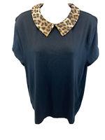 Maison Jules Anthroplogie Womens Black Collared Short Sleeve Shirt Top XL
