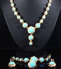 925 Sterling Silver Handmade Antique Turkish Turquoise Ladies Set