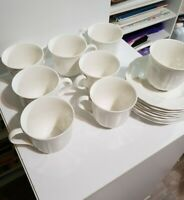 Mikasa Ultima + Antique White Coffee Tea Cups and Saucers Set of 8 HK-400