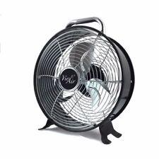 """Vie Air 12"""" High Velocity Dual Speed Retro Metal Drum Floor Fan w/Handle"""